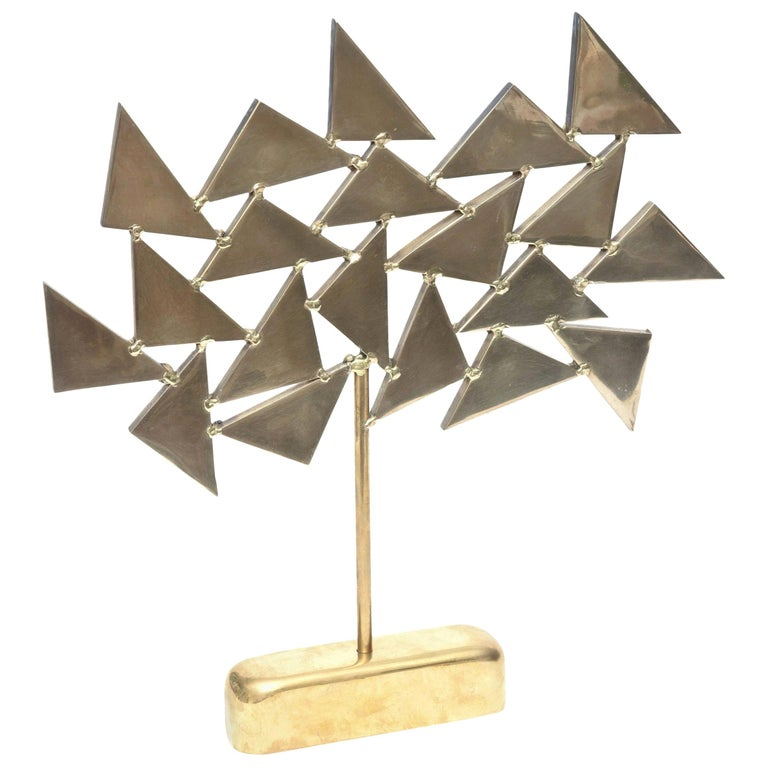 Signed Geometric Brass Sculpture, 1960s, French For Sale