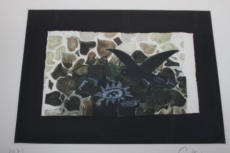Artist Georges Braque 1882-1963, etching and aquatint Le Nid Vert (The Green Nest) M.1028 on Rives BFK paper, circa 1950. Signed and dated to lower edge 'G. Braque 157/300'. This work is number 157 from the edition of 300 printed by Atelier