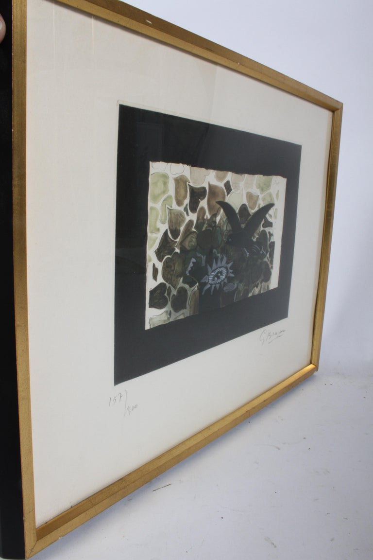 Paper Signed Georges Braque Etching 1950, Le Nid Vert 'The Green Nest' Maeght 1028 For Sale