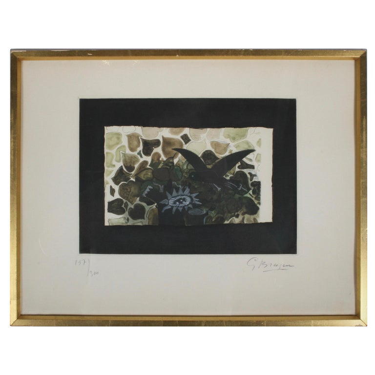 Signed Georges Braque Etching 1950, Le Nid Vert 'The Green Nest' Maeght 1028 For Sale