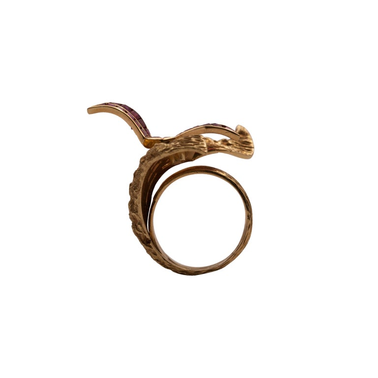 This unique ring was designed by Georges Braque and made by Heger de Löwenfeld in Paris, France, in the 1960's. The two artists had a longstanding relationship; George Braque was the designer and Heger de Löwenfeld the creator of the physical piece.