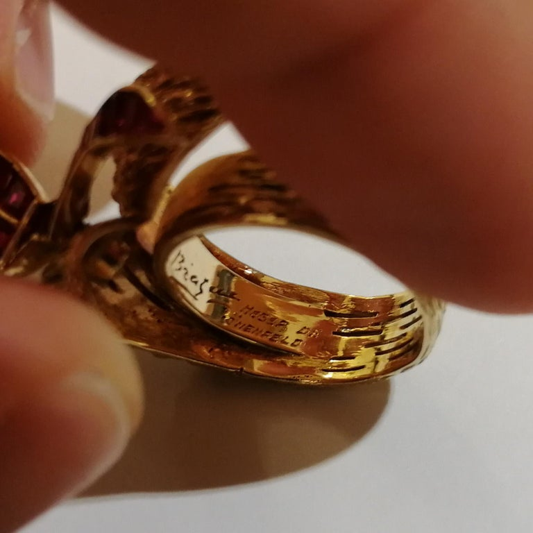 Women's or Men's Signed Georges Braque Yellow Gold Ring Set with Baguette Cut Rubies For Sale