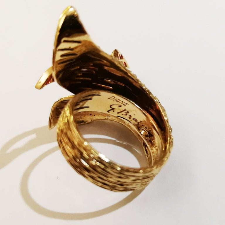 Signed Georges Braque Yellow Gold Ring Set with Baguette Cut Rubies For Sale 1