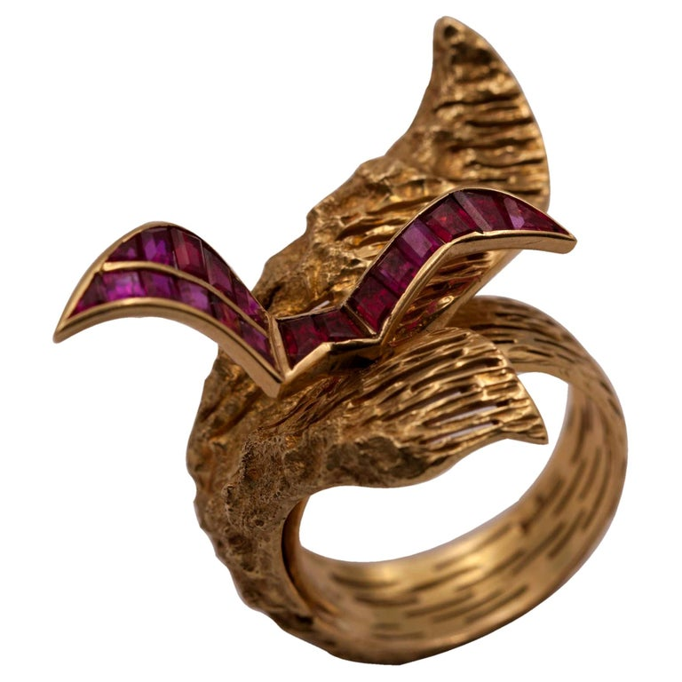 Signed Georges Braque Yellow Gold Ring Set with Baguette Cut Rubies For Sale