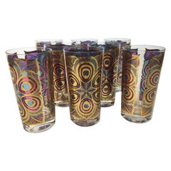 """Signed Georges Briard Vintage Highball Glasses in the """"Peacock"""" Pattern"""