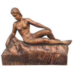 "Signed German Wooden Sculpture of a Mother and Her Child, ""Muller 1943"""