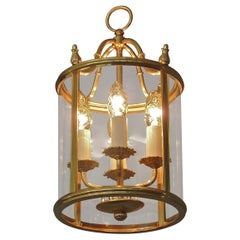 Signed Gilt Brass and Glass Lantern by Gaetano Sciolari Italian Empire Style