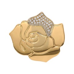 Signed Gio Caroli Diamond 18k Gold Rose Flower Brooch Pin Estate Fine Jewelry