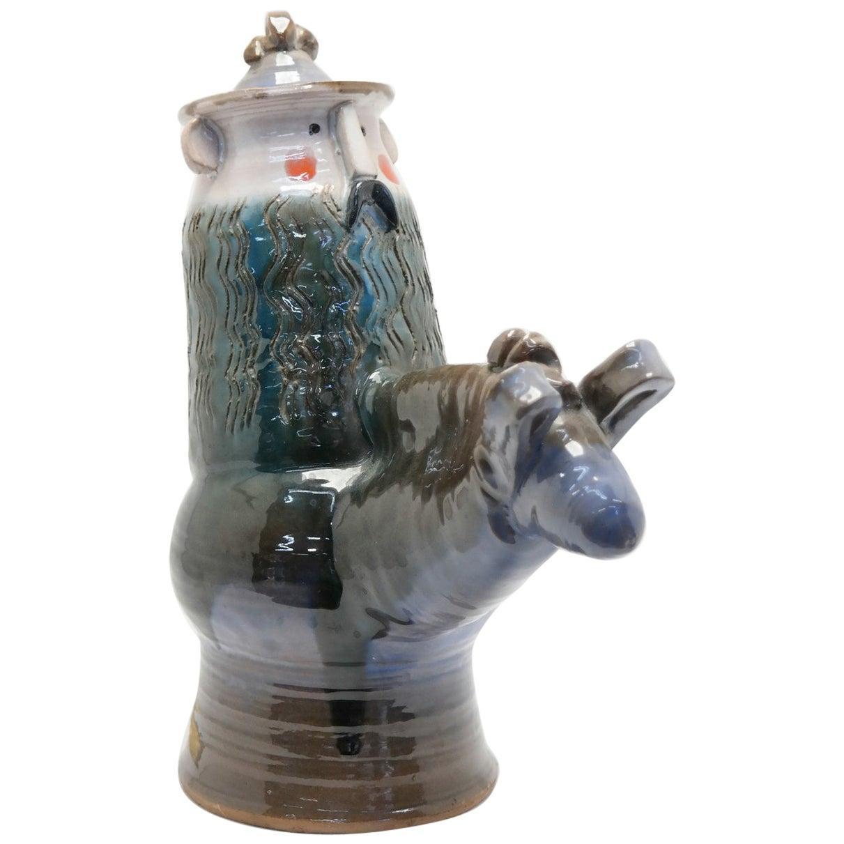 Signed, Glazed Ceramic Figure on Horse, 1970s