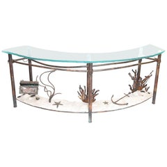 Signed Glen Mayo Sculptural Undersea Console Table of Copper