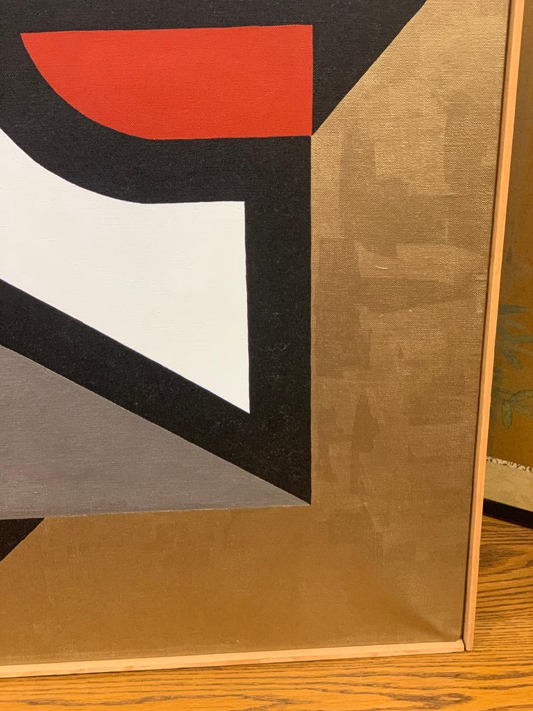 Signed Gold and Red Geometric Abstract Original Modern Painting For Sale 4