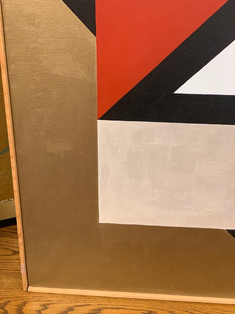 Signed Gold and Red Geometric Abstract Original Modern Painting For Sale 5