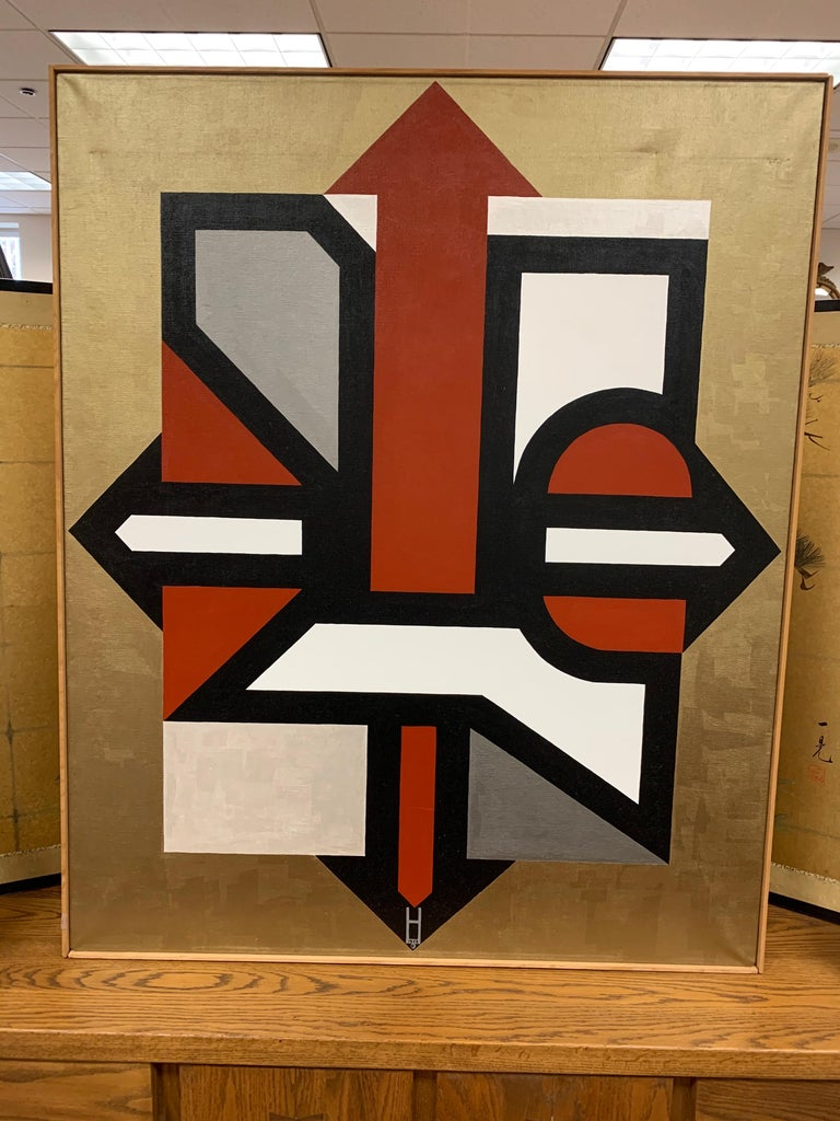 Signed Gold and Red Geometric Abstract Original Modern Painting For Sale 6