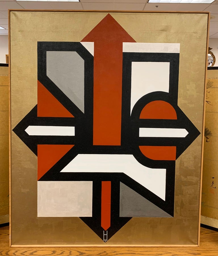 But with that coveted Mid-Century Modern look, this signed abstract painting is signed by the artist with the symbol as shown at bottom of painting, circa 1990s. Dated 1992.