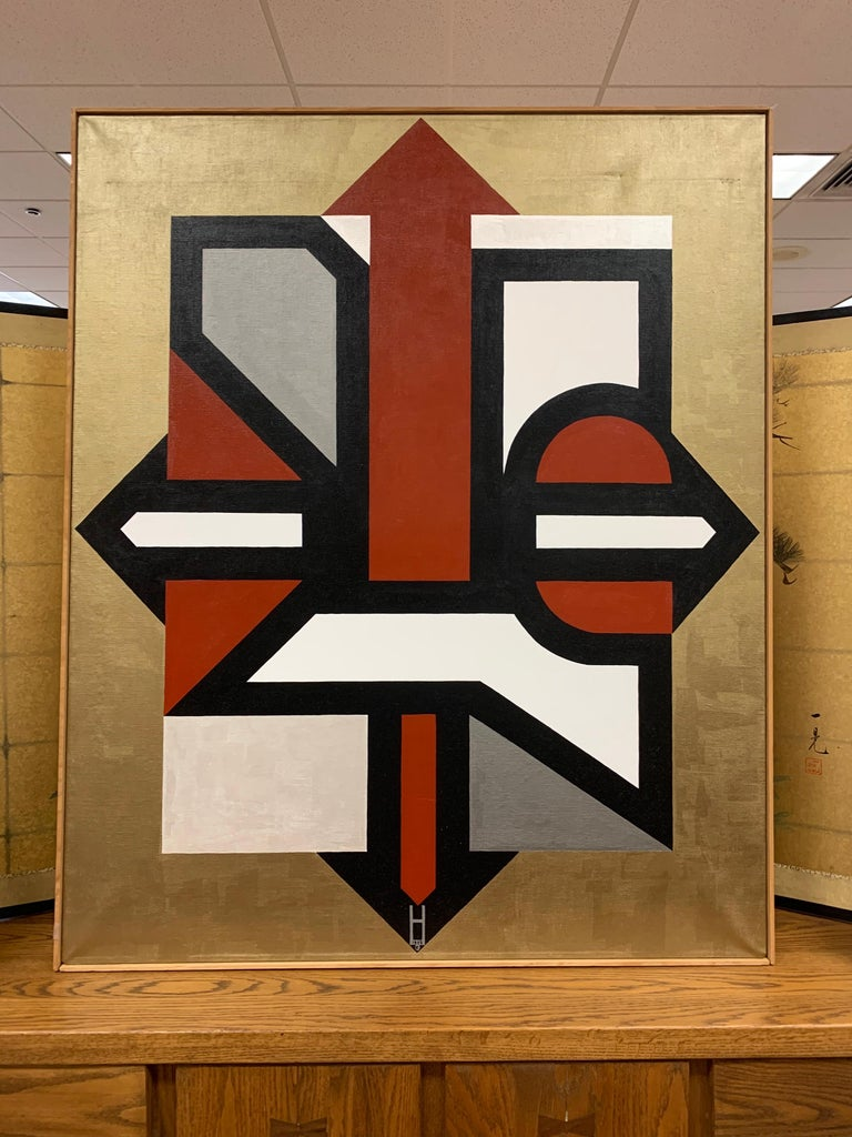 Mid-Century Modern Signed Gold and Red Geometric Abstract Original Modern Painting For Sale