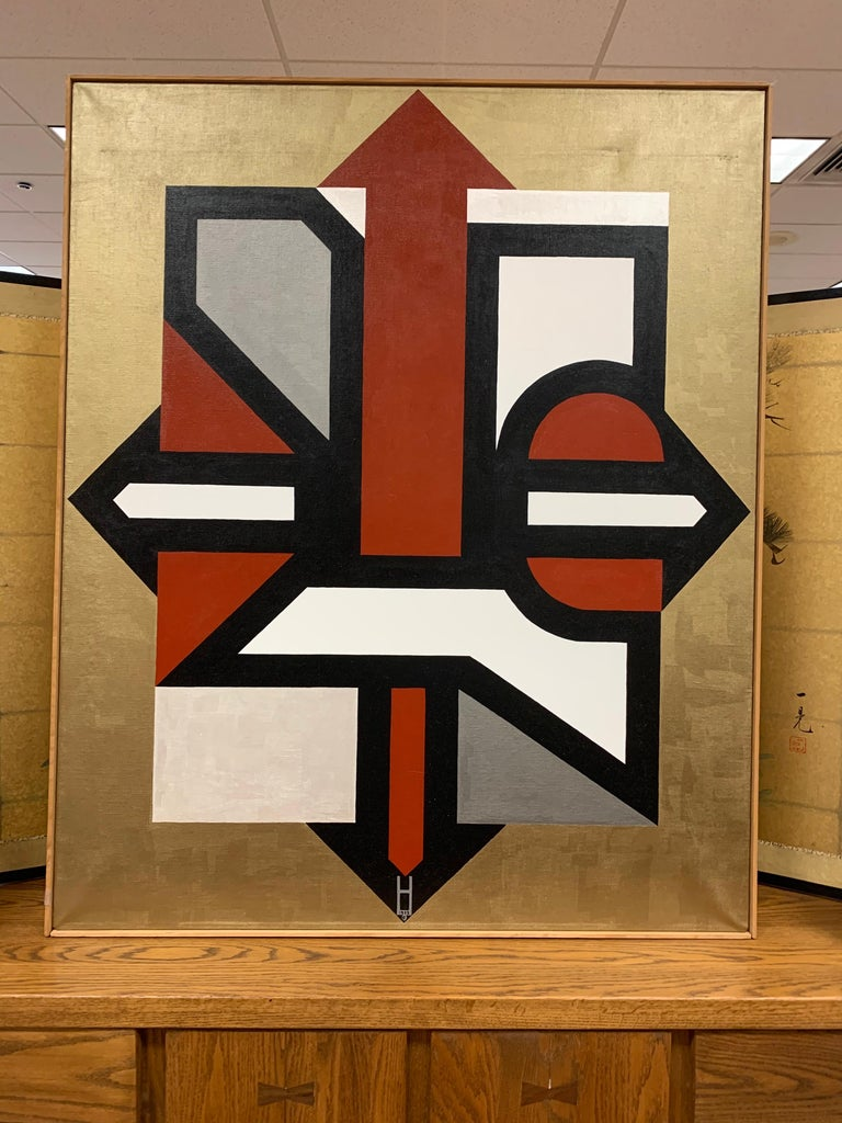 Signed Gold and Red Geometric Abstract Original Modern Painting In Good Condition For Sale In West Hartford, CT