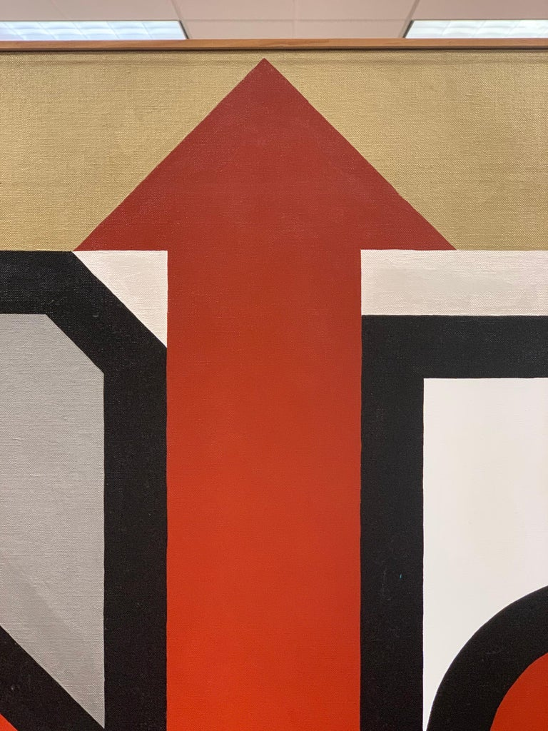 Signed Gold and Red Geometric Abstract Original Modern Painting For Sale 2