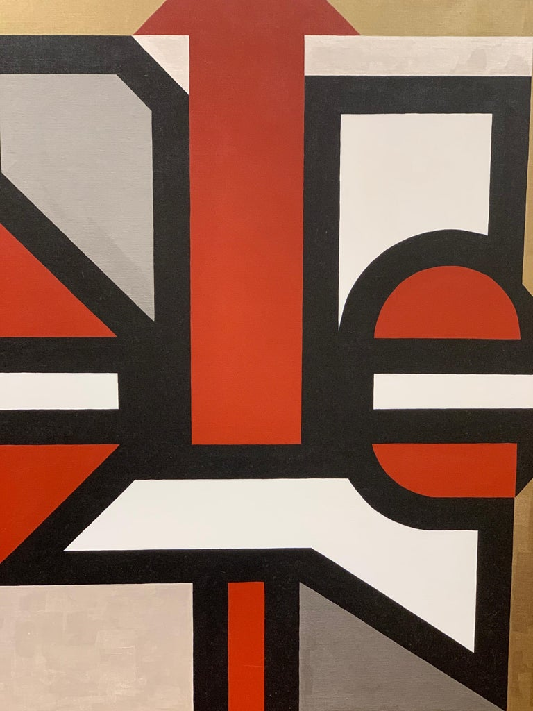 Signed Gold and Red Geometric Abstract Original Modern Painting For Sale 3