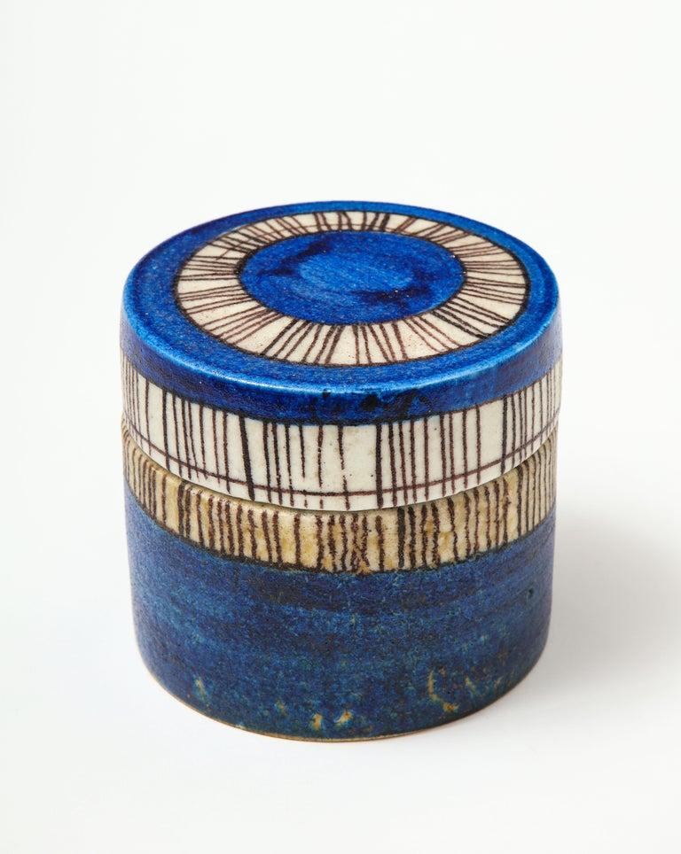 Signed ceramic vessel in cobalt blue and bone glaze, Guido Gambone, Italy, circa 1950.