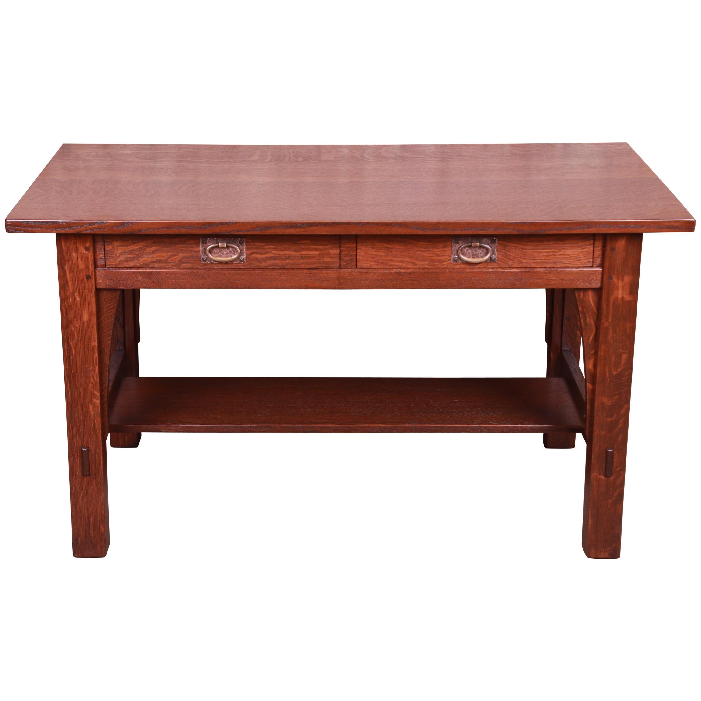 Signed Gustav Stickley Mission Oak Arts & Crafts Writing Desk or Library Table