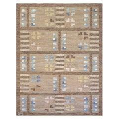 Signed Handwoven Vintage Midcentury Swedish Flat-Weave Rug