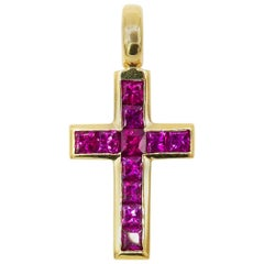 Signed Hans D. Krieger 18 Karat Yellow Gold and 1.38 Carat Step-Cut Ruby Cross