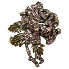 Signed Heidi Daus Pink Crystals Floral Brooch