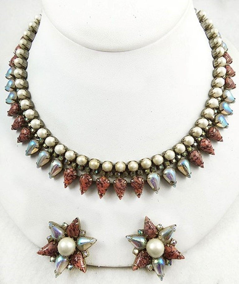 Modernist Signed Hobé Designer Art Glass and Faux Pearl Fringe Necklace and Clip Earrings  For Sale