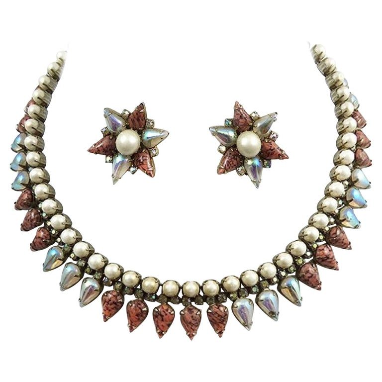 Signed Hobé Designer Art Glass and Faux Pearl Fringe Necklace and Clip Earrings  For Sale