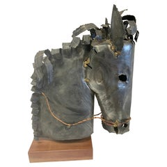 Signed Horse Head Metal Sculpture by William Degroot