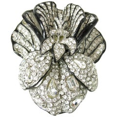 Signed Huge Vintage Kenneth Jay Lane 3-Dimensional Floral Brooch