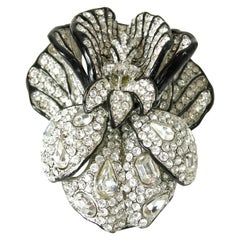 Signed Huge Vintage Kenneth Jay Lane 3-Dimensional Floral Brooch