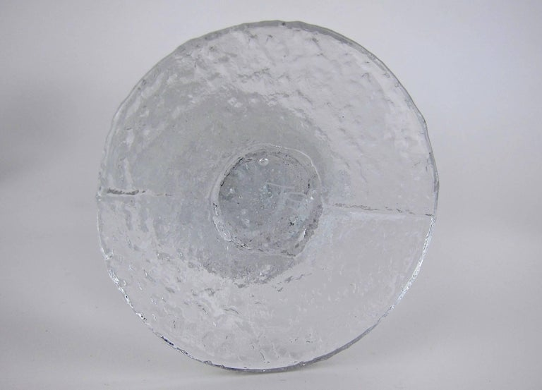 Signed Iittala Festivo Midcentury Glass Candleholders by Timo Sarpaneva 3