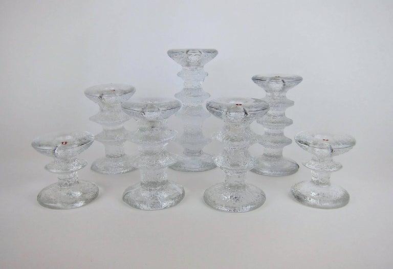 Mid-Century Modern Signed Iittala Festivo Midcentury Glass Candleholders by Timo Sarpaneva