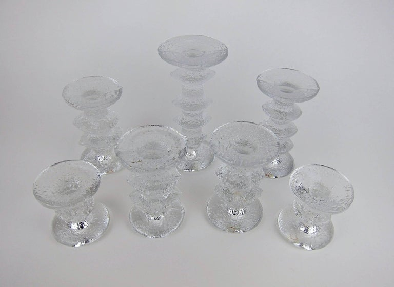 Signed Iittala Festivo Midcentury Glass Candleholders by Timo Sarpaneva In Good Condition In Los Angeles, CA