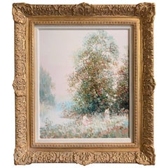 Signed Impressionistic Oil on Canvas Painting in Carved Gilt Frame