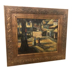 Signed Impressionistic Oil on Canvas Painting of Women Promenading in the City