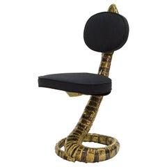 Signed Isabelle Faure Cobra Brass Sculpture Chair Black Alcantara, 1970s