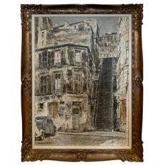 "Signed Isamu Hirakawa Oil Painting on Burlap ""Rue Drevet"" in Montmartre, Paris"