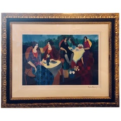Signed Itzchak Tarkay Seriolithograph Titled 'Morning Social'