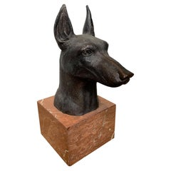 Signed J. Santiago Bronze Doberman Pinscher Head on Marble Base, 20th Century