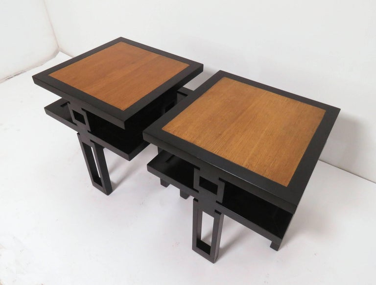 Mid Century Modern Signed James Mont Asian Style Two Tone End Tables Circa