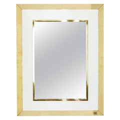 Signed J.C. Mahey Wall Mirror in White Lacquer and Brass, 1970