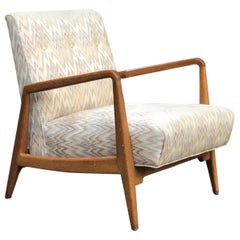 Signed Jens Risom U-420 Lounge Chair 1940s Walnut Stunner