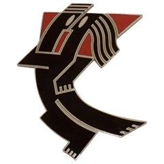 Signed Jerry Leibowitz Designer Acme Studios Lovers Enamel Figurative Brooch Pin