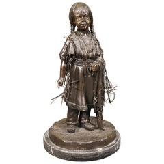 Signed Jim Davidson Solid Bronze Native American Girl Statue