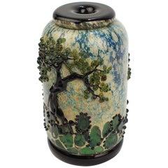 Signed John Nyguren Cabinet Size Art Glass Vase with Trees