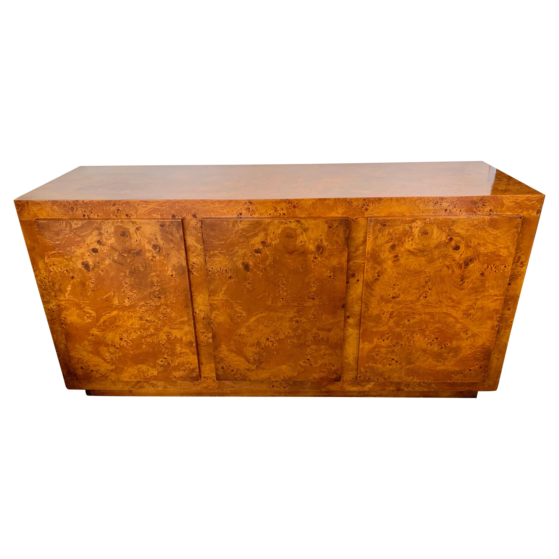 Signed John Stuart Mid-Century Burlwood Credenza Sideboard Buffet Dresser