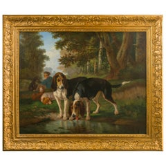 Signed Joost-Vincent De Vos 19th Century Oil Painting Depicting Hounds and Boy