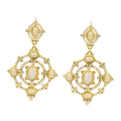 Signed Judith Ripka 4.80 Carat Diamonds 18 Karat Gold Earrings